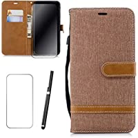 Samsung Galaxy A8 Plus/A8+ 2018 Hülle, MISSDU Handyhülle Premium PU Leder Flip Tasche Wallet Case mit Integrierten Kartensteckplätzen [Gifts: Screen Protector, Touch Pen] - Braun