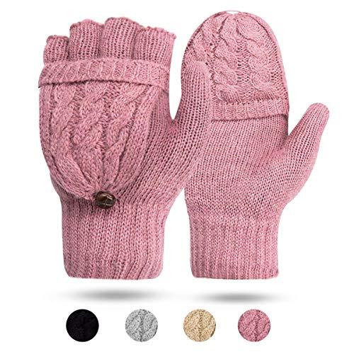 ECOMBOS Damen Handschuhe Fingerlos, Winter Handschuhe Fingerlose Fäustlinge Damen Fingerhandschuhe Warm (Rosa) (Fingerlose Handschuhe Rosa)
