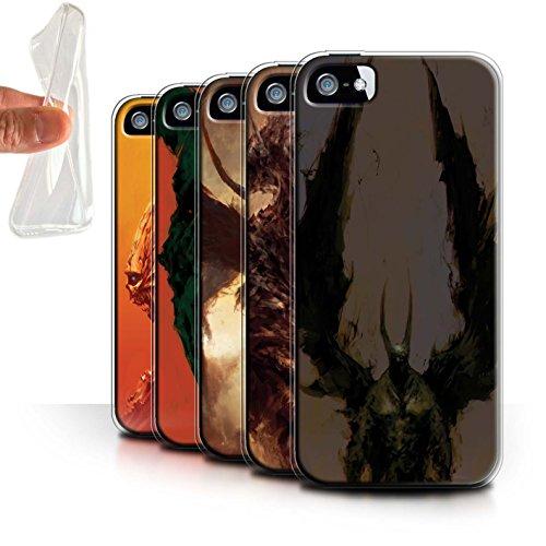 Offiziell Chris Cold Hülle / Gel TPU Case für Apple iPhone SE / Teufel/Tier Muster / Wilden Kreaturen Kollektion Pack 6pcs