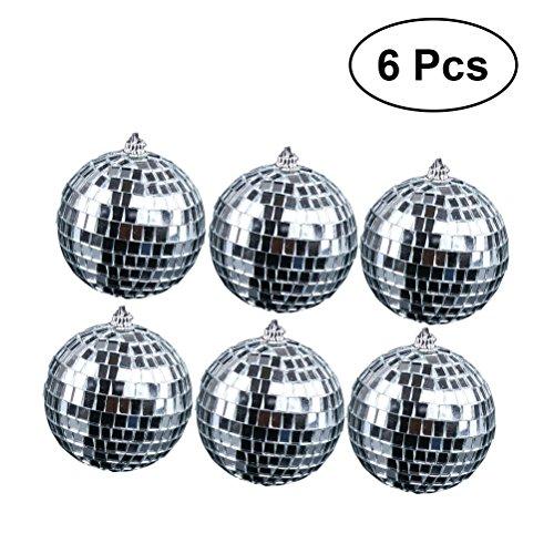 Amosfun 6 Stück Spiegel Disco Ball Fun 5cm Hängende Party Disco Ball - Party Dekoration Party Design Tanz und Musik Festivals Hochzeit Weihnachten Valentinstag Dekoration (Silber)