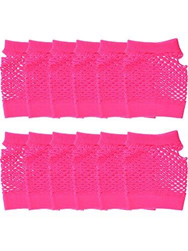 Syhood 12 Paar Nylon Fingerlose Fischnetz Handschuhe Neon Mesh Handschuhe 80er Jahre Party Handschuhe für Party Dressup Favors - 80er Jahre Familie Kostüm