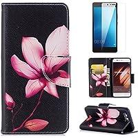 Schutzhülle für Huawei P10 Hülle Leder Schwarz mit Muster zum Klappen mit Magnet Kartenfach Vollschutz Klapphülle 360 Grad Komplett Schutz Cover Wallet Case und [Displayschutzfolie] - Rosa Lotus