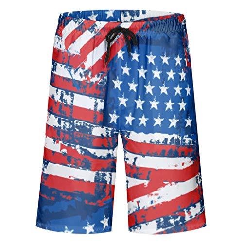 BTJC8 Badehose mit Amerika-Flaggen-Muster, schnelltrocknend, Badehose - viele Farben mit Taschen und elastischem Bund für Herren/Jungen Gr. 6XL, weiß
