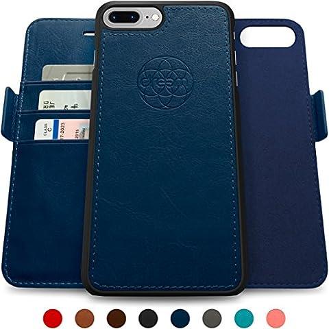 Coque + étui portefeuille magnétique Dreem Fibonacci pour iPhone 7 Plus, protection RFID, 2 positions possibles, en simili-cuir haut de gamme, dans un emballage cadeau - Bleu