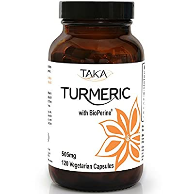 Organic Turmeric 500mg with BioPerine - 120 Veg Capsules By Taka Turmeric | Excellent Curcumin Absorption from the addition of BioPerine | Organic Turmeric certified by Soil Association