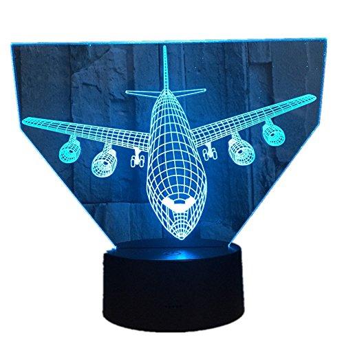 Tianyifengg 3D Nachtlicht -7 Farbe - Fernbedienung - Leichtflugzeug Modell kreative Note Flugzeug Tischlampe Folie Hologramm Farbe Cooles Spielzeug Neujahr