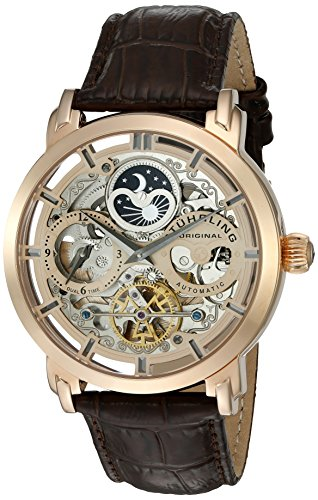 Stuhrling original uomo 371.. 03 automatic dual time Skeleton AM/PM lunari Orologio da uomo in pelle