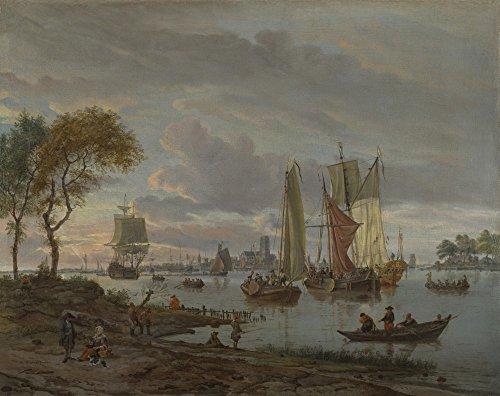 Das Museum Outlet-Abraham Storck-A River View, gespannte Leinwand Galerie verpackt. 40,6x 50,8cm