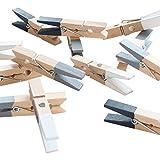 LeTOMA - 12 Bunte Magnetklammern - Holzklammern 45mm- 4X (Schwarz, Weiss, Grau) mit integrierten starken Neodym Magneten für die Befestigung am Kühlschrank und vielen Anderen magnetischen Oberflächen