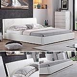 i-flair - Designer Polsterbett, MONACO Bett 140x200 cm weiß - alle Farben & Größen