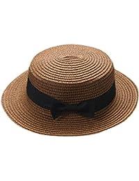 QUICKLYLY Familia Sombrero Paja Canotier Pescador Respirable de Protectora  del Sol Playa Sombrero Primavera Venaro para 7925246b51d