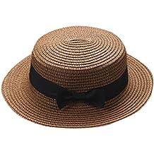QUICKLYLY Familia Sombrero Paja Canotier Pescador Respirable de Protectora  del Sol Playa Sombrero Primavera Venaro para 31152456324