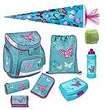 Scooli Butterfly Mädchen Schulranzen Set 9tlg. Campus Up mit Dose/Flasche und Schultüte 85cm Schmetterling und Blumen türkis
