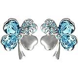 Kobwa(TM) 1 Pair Crystal Lucky Four Leaf Clover Stud Earrings With Keyring