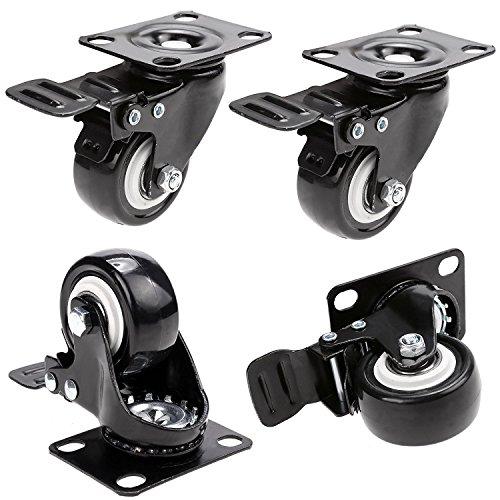 Material: Rueda de goma, placa superior de acero De color negro Artículo: Caster Estilo: Set / Kit Diseño: Rueda giratoria Característica: Heavy Duty Ancho de la rueda: 2.4cm Diámetro de la rueda: 5.0cm Tamaño superior de la placa: 10.3 x 5.0cm Altur...