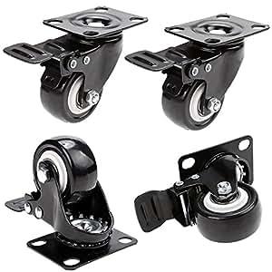Herenear 4 roulettes pivotantes avec frein 50mm en - Roulette pour meuble avec frein ...