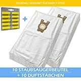10 Staubsaugerbeutel + 10 Duftstäbchen Für KIRBY F - Style / Stil / Anschluß / Sentria 1 / 2