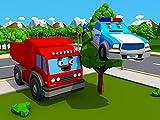 Großer Lastwagen und Polizeiauto