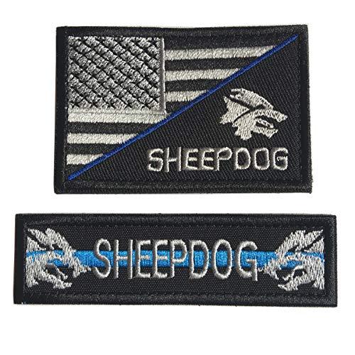 Haken- und Schlaufenflicken mit Schafhund und USA-Flagge, bestickt, 2 Stück Bundle 2pcs Blue Line (Bundle-art Supplies)