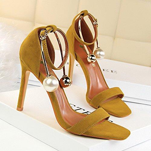 LGK&FA Sandales Fermoir Haut Talon Chaussures Chaussures À Talons Hauts Talons Fine Pearl 36 yellow