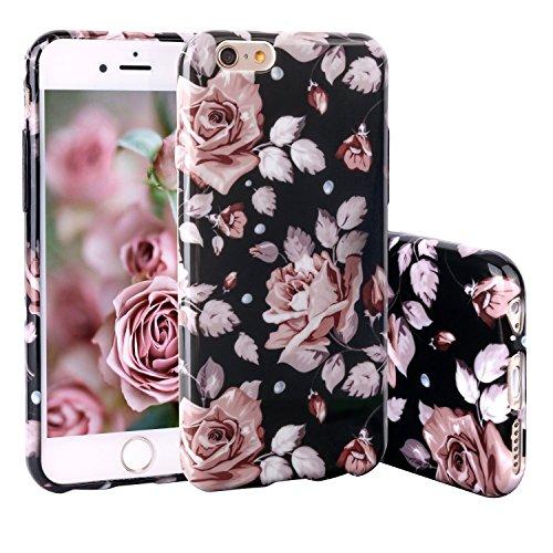 """iPhone 6 4.7"""" Coque, ZXK CO Housse Motif Peinture Fleur Étui TPU Silicone Cover Ultra Léger Anti - Chute Boîtier Créatif Exclusif de Protection de Téléphone Mobile Case pour Apple iPhone 6/6S 4.7 Pouces, Rose Fleur"""