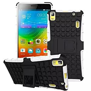 Heartly Flip Kick Stand Spider Hard Dual Rugged Armor Hybrid Bumper Back Case Cover For Lenovo A7000 / Lenovo K3 Note Dual Sim - Best White