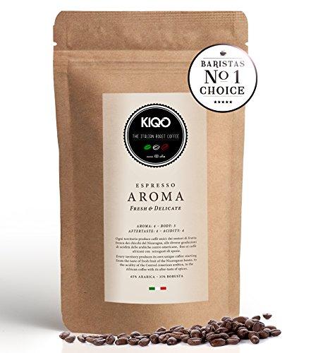 KIQO Kaffee Aroma | ausgezeichneter Premium Röstkaffee | ganze Espresso Bohnen aus Italien | in schonenden Kleinstchargen geröstet | relativ säurearm und bekömmlich (250 Gramm)