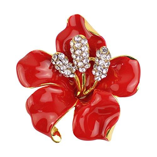 Blume Rote Brosche Pin (Merdia Herrenkette Brosche Pin für Frauen Blumen Brosche mit geschaffen Kristall Rot 29,8G)