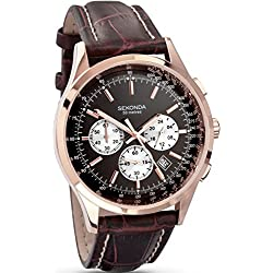 Sekonda Men's Quartz Watch with Black Dial Chronograph Display and Brown Leather Strap 3413.27