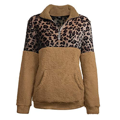 SXZG Herbst und Winter Frauen Neue Shirt Langarm-Pullover Leopard Nähte Frauen-Pullover -
