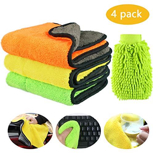 Weeygo auto panni pulizia microfibra 840gsm panno per pulizia automatica ultra spessa super assorbente panni per lucidare, 3 pezzi asciugamani + guanto di lavaggio
