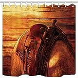 NJMRZX Tenda da Doccia da Cowboy Stile Vintage Occidentale Sella da Cavallo Sfondo in Legno Bagno in Poliestere Tessuto Tenda da Doccia Impermeabile con Ganci 71X71in