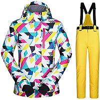 TODAYTOP Mujer Mode Alta Resistente al Viento Traje de Nieve Impermeable Pantalones de esquí Chaquetas de Colores Impreso, Color Amarillo, tamaño Medium