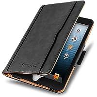 [ iPad Mini 4 / 3 / 2 y iPad Mini (1ªGen.) ] - Funda Tipo Libro De Piel Jammylizard Edición Original Smart Case Con Portalápiz Integrado, NEGRO / CANELA