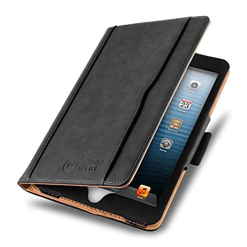 JAMMYLIZARD Hülle für iPad Mini | Ledertasche Flip Case [Business Tasche] Leder Smart Cover Lederhülle für iPad Mini 4. 3. 2. & 1. Generation, Schwarz & Honig [mit Eingabestift & Pencil Halter]