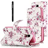 Slynmax Leder Tasche Schutzhülle für Samsung Galaxy S5/S5 Neo Hülle Flip Wallet Case Etui Blumen Rose Brieftasche Lederhülle Bookstyle Ledertasche Handyhülle Ständer Karten Slot Magnetverschluss