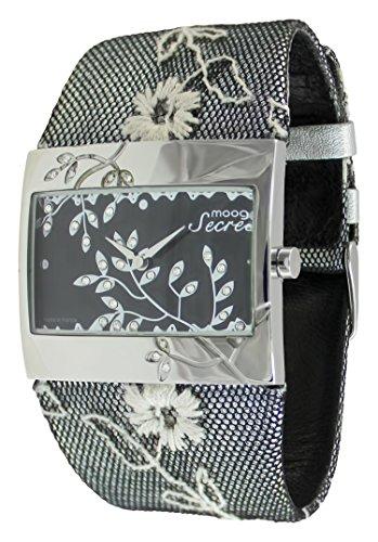 Moog Paris Secret Women's Watch with Black Dial, Black Genuine Leather Strap & Swarovski Elements - M44932-001