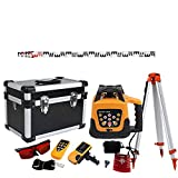 TryESeller Automatic Self Leveling Red Beam Rotary Laser Level 1.65 Aluminum Tripod 5m