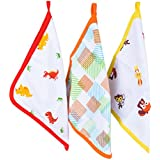 """Wonder Wee Premium Baby Napkin / Burp Cloth / Wash Cloth   New Born   100 % Cotton Muslin   4 Layered High Quality   Soft And Smooth MulMul Fabric   Size 11"""" X 11"""" Large Size (XL)   Color Red Dino/Orange Square Lines/Yellow Animals   Baby Show"""