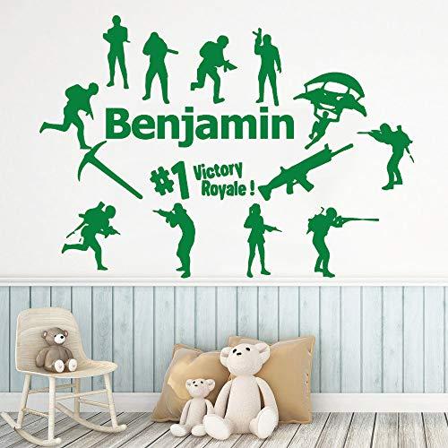 jiuyaomai Nuovo Design Royale Battle Sticker Nome Personalizzato Adesivo murale per Camera dei Bambini Decalcomanie in Vinile Camera da Letto Muurstick
