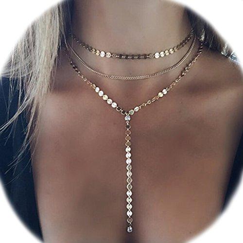 Jovono mehrschichtige Damen-Halskette, Goldfarben