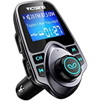 VICTSING FM Transmitter, Car MP3 Player Handsfree Car Kit with Dual USB Charging Ports, 1.44 Inch LCD Display, 3.5mm Audio Port, TF Card Slot, USB Flash Drive Port For iPhone, iPad, iPod, HTC