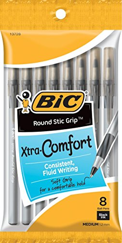 black-bic-ultra-round-stic-grip-ball-pens-medium-point-8-pkg-gsmgp81-blk