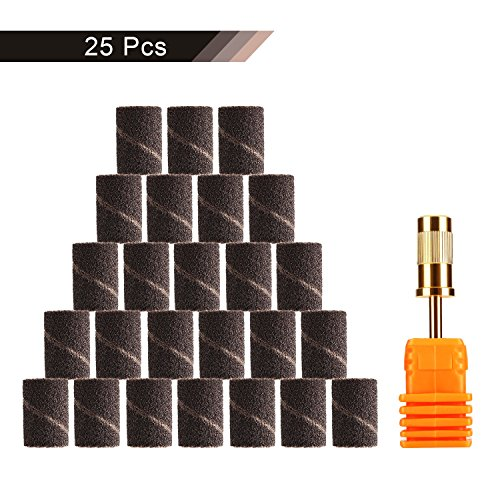 Schleifkappenträger inkl. 25x Premium Schleifhülsen Grob 150er Körnung Maniküre/Pediküre/Hornhaut Für Nagelfräser Nageldesign