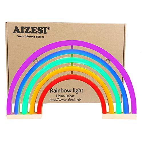 AIZESI Regenbogen Deko Lampe LED Licht Nacht für Kinder Lichter Marquee Baby Party Wand Batteriebetriebene Beleuchtung Lampe(Regenbogen)