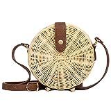 Tick Tocking Sac de plage tissé rond de rotin de femmes sac d'été de sac de paille d'été de filles