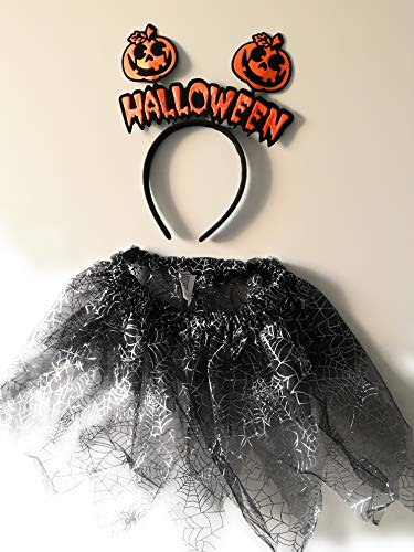 Halloween Costume For Girls Kids Orange Halloween Headband Fancy Dress Spider ()