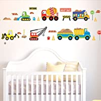BestOfferBuy Cartoon Construction Site Trucks Road Signs Wall Sticker Decal