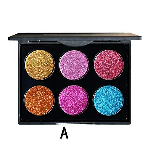 1pc 6-Color Beauty Pro Diamond Glitter Palette Ombre À Paupières Set Maquillage Cosmetic Eyeshadow Set (Color : Style A)