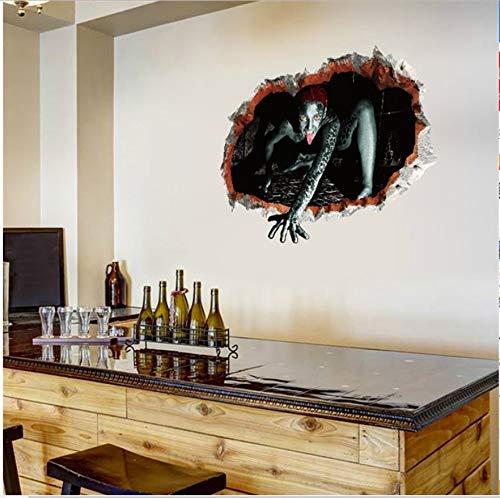 HHZDH Halloween Weibliche Geist Blut Hand Wandaufkleber Wohnzimmer 3D Dreidimensionale Lebensechte Wirkung Wandaufkleber Wandbild Wohnkultur 45X60 Cmweihnachten
